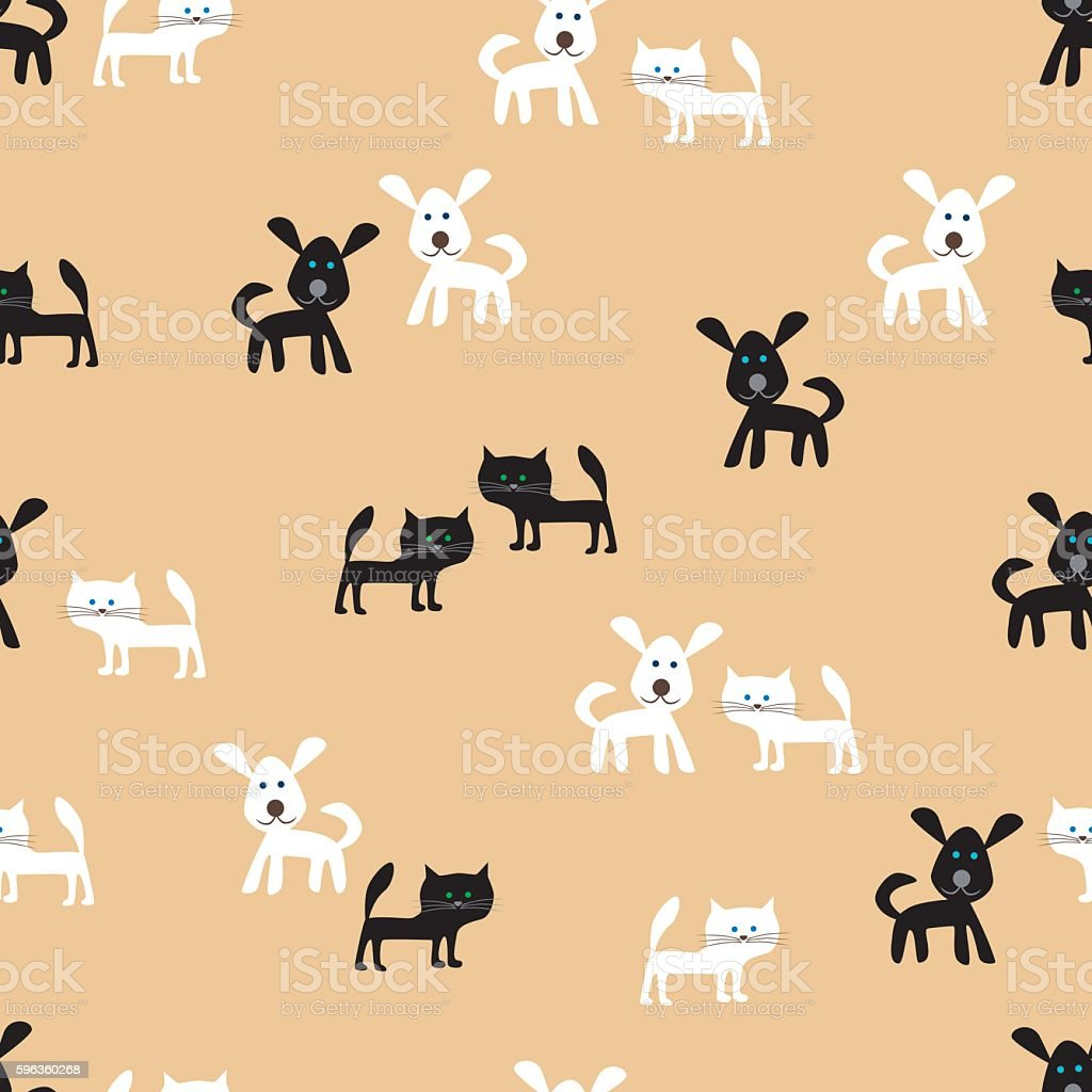 pattern of the funny cats and cheerful dogs royalty-free pattern of the funny cats and cheerful dogs stock vector art & more images of animal