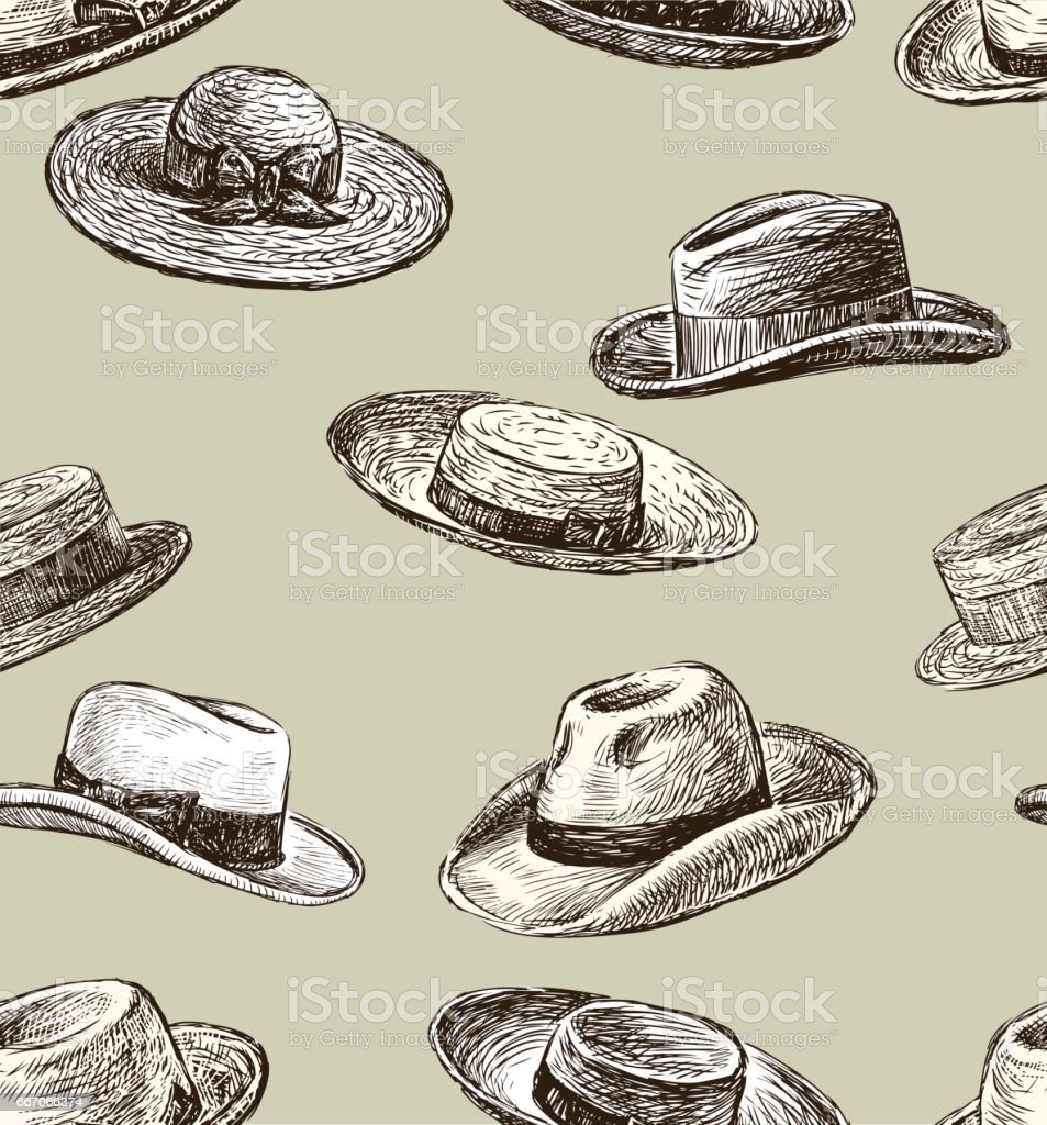 pattern of the male and female hats vector art illustration