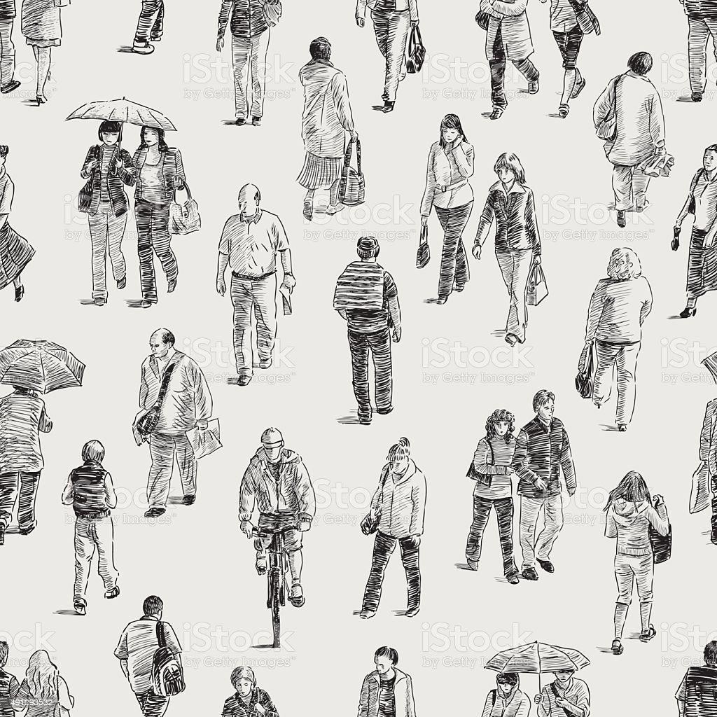 pattern of the pedestrians vector art illustration
