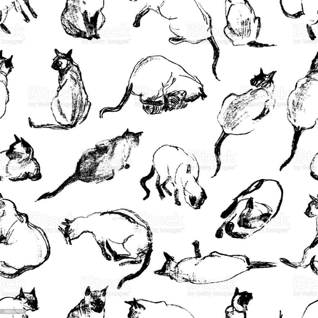 Pattern of the sketches of a domestic cat vector art illustration