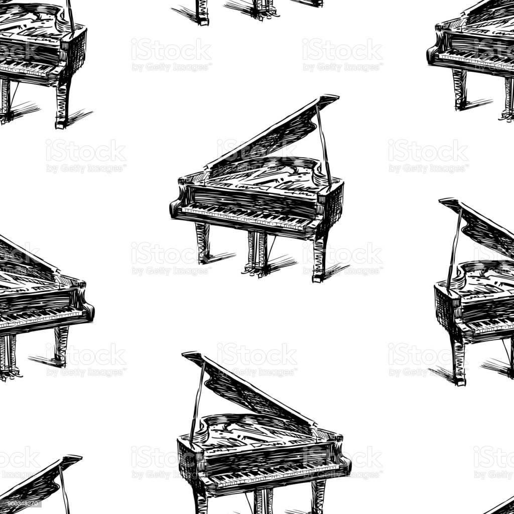 Pattern of the sketches of concert grand piano vector art illustration
