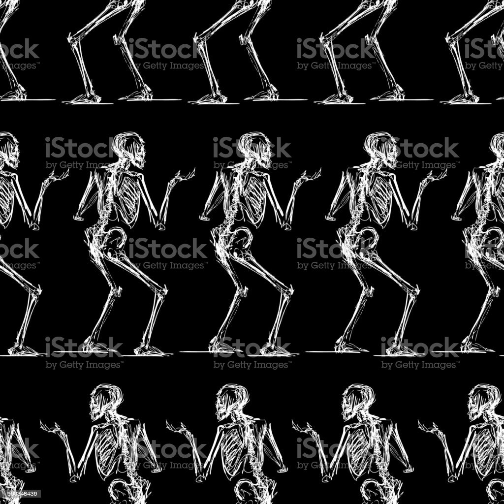 Pattern of the sketches of striding skeletons vector art illustration