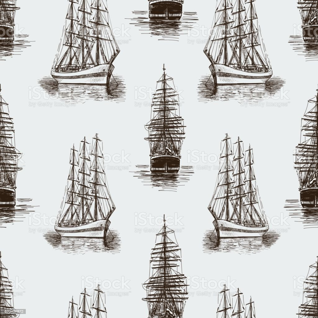 pattern of the sketches sailing ships vector art illustration
