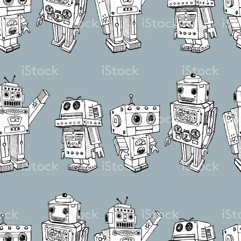 Pattern of the toy robots vector art illustration