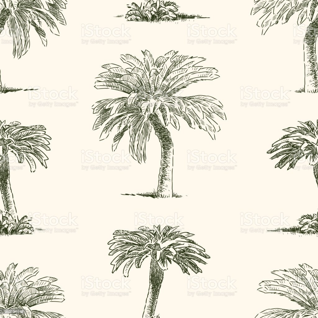Pattern of the tropical palm trees vector art illustration