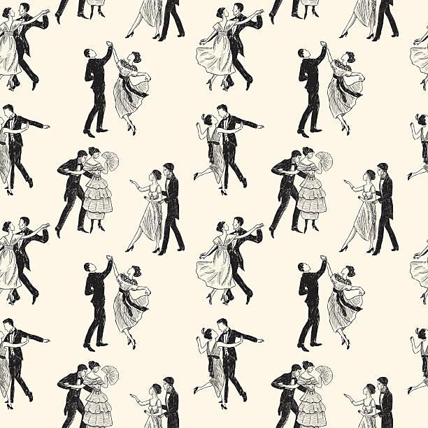 wzór w stylu retro, taniec pary - sala balowa stock illustrations
