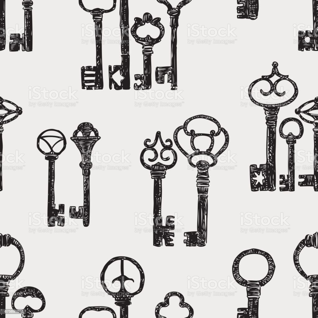 pattern of the vintage keys royalty-free pattern of the vintage keys stock vector art & more images of ancient