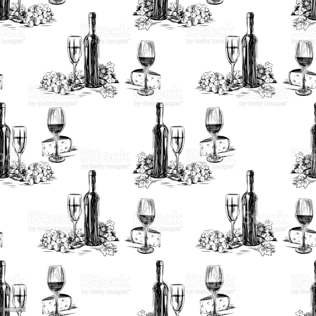 Pattern of the wine bottles with wine glasses,grape and cheese vector art illustration