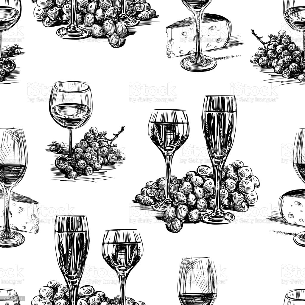 Pattern of the wine glasses,grape and cheese vector art illustration