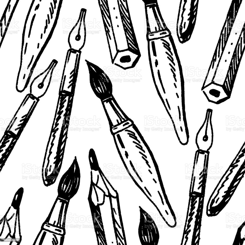 Pattern of the writing supplies vector art illustration