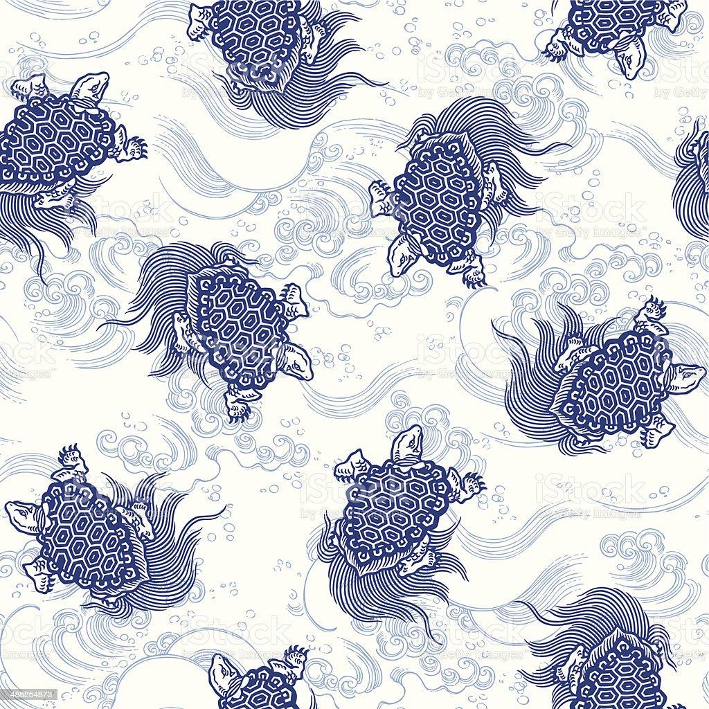 pattern of tortoise vector art illustration