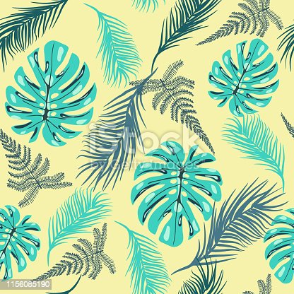 istock pattern of tropical foliage In vintage style. 1156085190