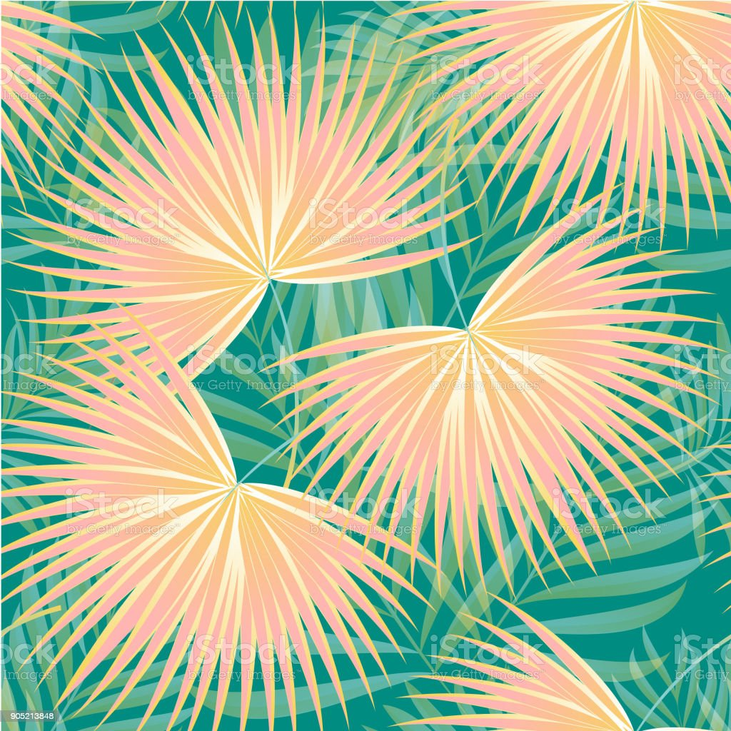 Muster von tropischen Palmen, Blätter des Dschungels. Vektor Blumenmuster. – Vektorgrafik