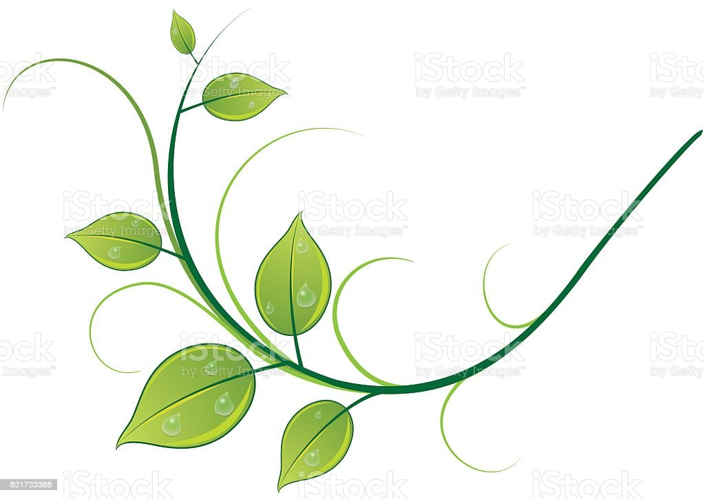 Pattern of twigs and leaves vector art illustration