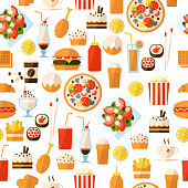 Seamless pattern with fast food and drink for textiles, interior design, for book design, website background