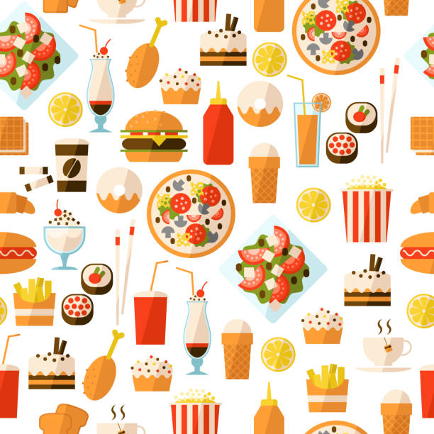 food fast drink cartoon pattern various vector unhealthy illustrations clip acidic themed seamless icons eating illustration similar graphics artist happens
