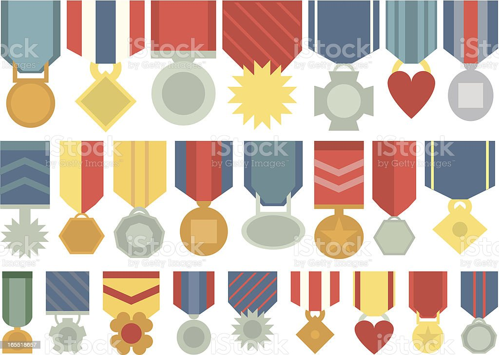 Pattern of various colored medals vector art illustration