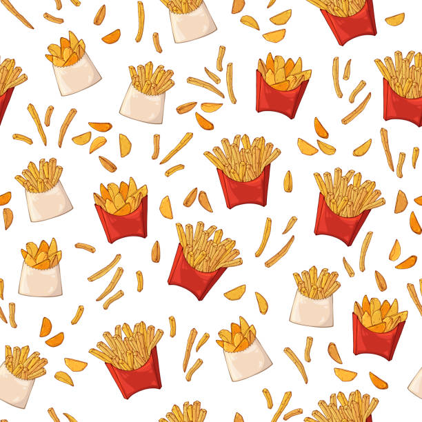 stockillustraties, clipart, cartoons en iconen met patroon van vectorillustraties op de fast food thema: frites. - friet