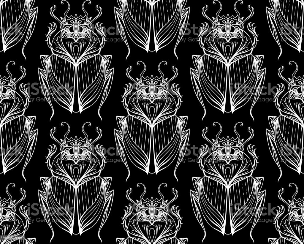 Pattern Of White Scarab With Boho On Black Background Royalty Free Stock Vector