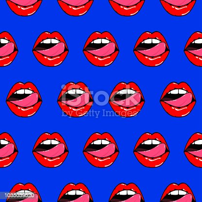 Pattern of woman open mouth with red lips and licking tongue