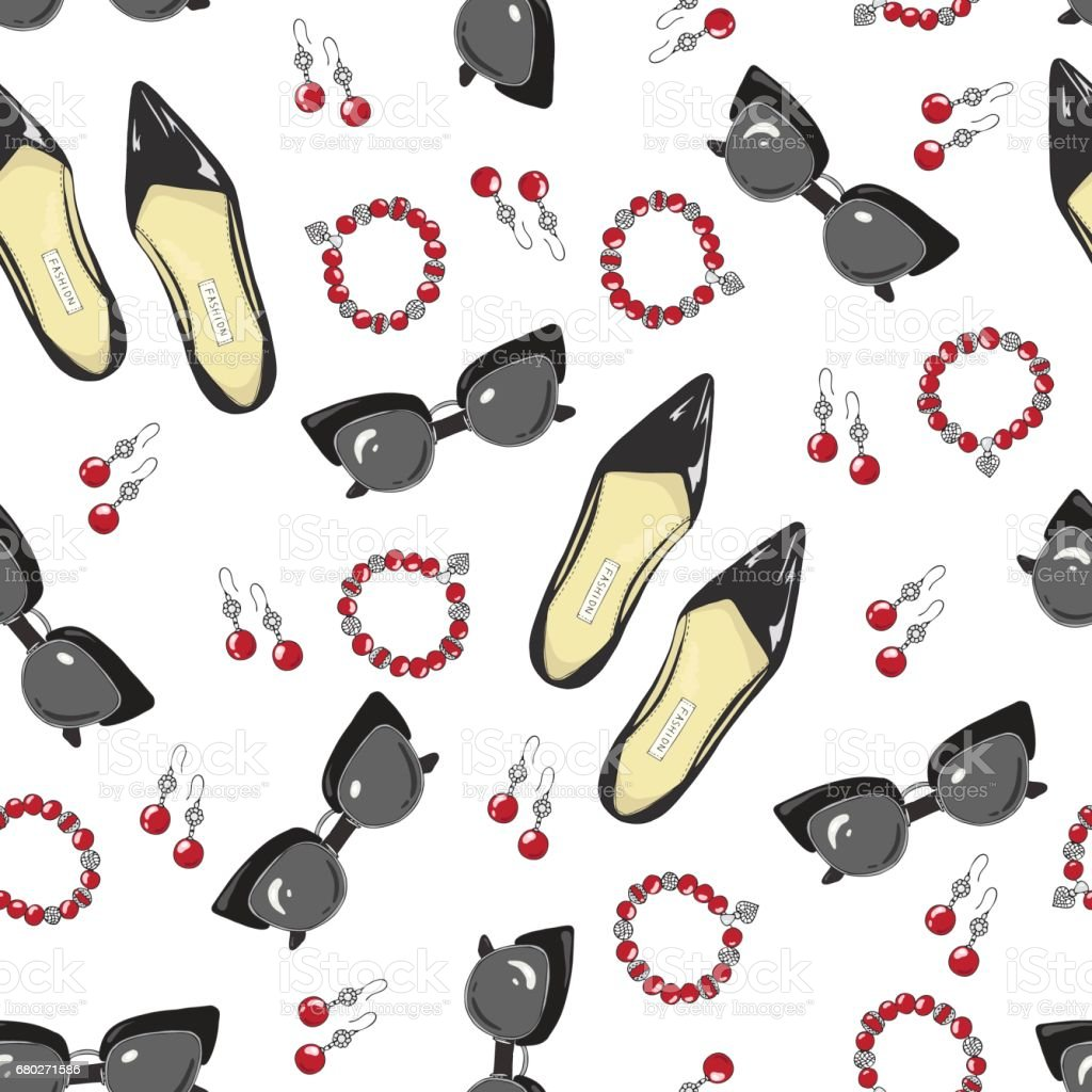 A pattern of women shoes and accessories on a white background - Illustration vectorielle