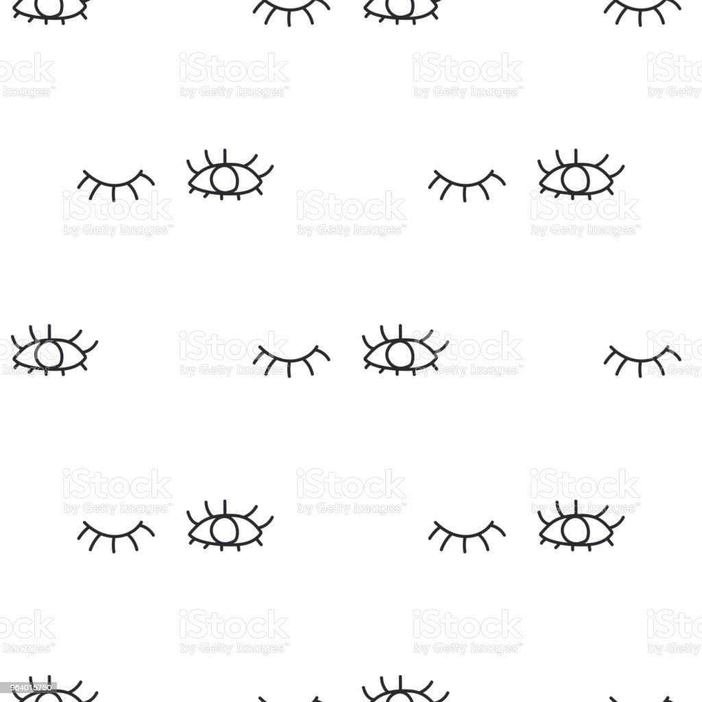 Pattern opened and closed human eyes with eyelashes on white background. Seamless pattern background winking eyes - Royalty-free Abstract stock vector