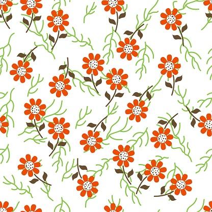 pattern orange flat stylized flowers