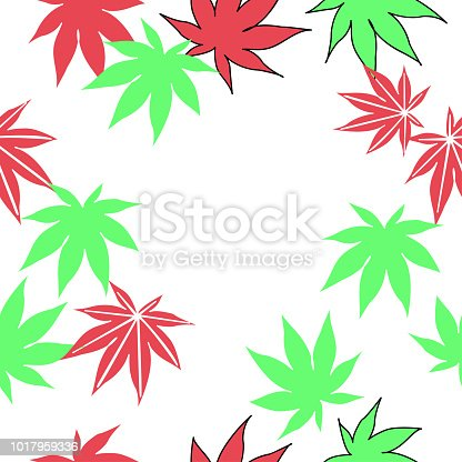 istock pattern Pack of pretty autumn leaves and flowers 1017959336