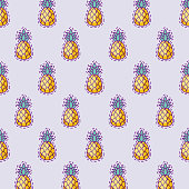pattern patches of fresh pineapples vector illustration design