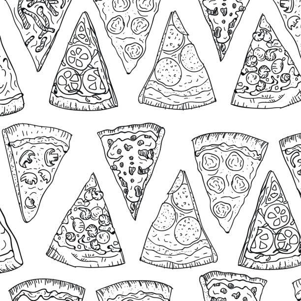 ilustraciones, imágenes clip art, dibujos animados e iconos de stock de rebanadas de pizza patrón mano dibujo en estilo doodle aislada sobre fondo blanco. doodle vista superior del plano corte de pizza patrón. diseño de cocina y pizzería italiano - pizza