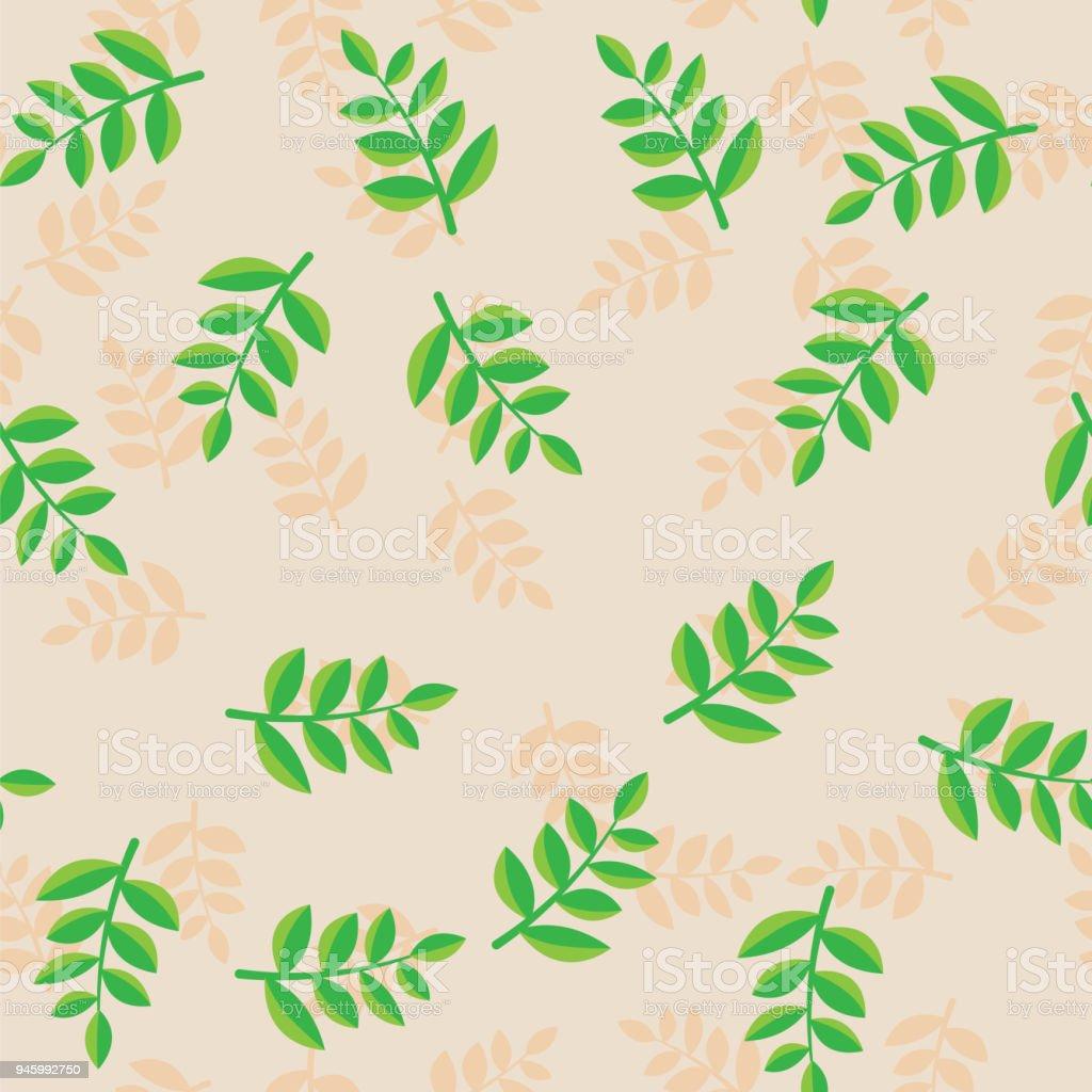 Muster Anlage Zweige Mit Grünen Blättern Auf Beigen Hintergrund. Beige Und  Grün Pflanze Zweige Mit