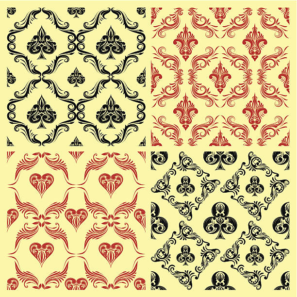 Pattern Playing Card Ornamental vector art illustration