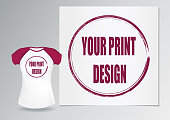 pattern print design and women's fitted t-shirt with Burgundy Raglan for demonstration