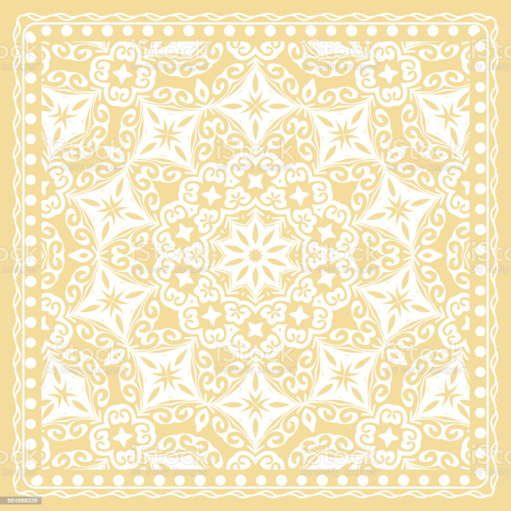 Pattern Print for Fabric. Pattern of Mandala with Border. Vector illustration. Golden color. vector art illustration