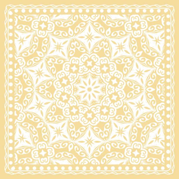 Pattern Print for Fabric. Pattern of Mandala with Border. Vector illustration. Golden color. vector art illustration