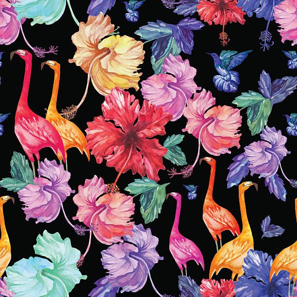 retro de patrones sin fisuras acuarela flores tropicales, palmeras y pájaros - ilustración de arte vectorial