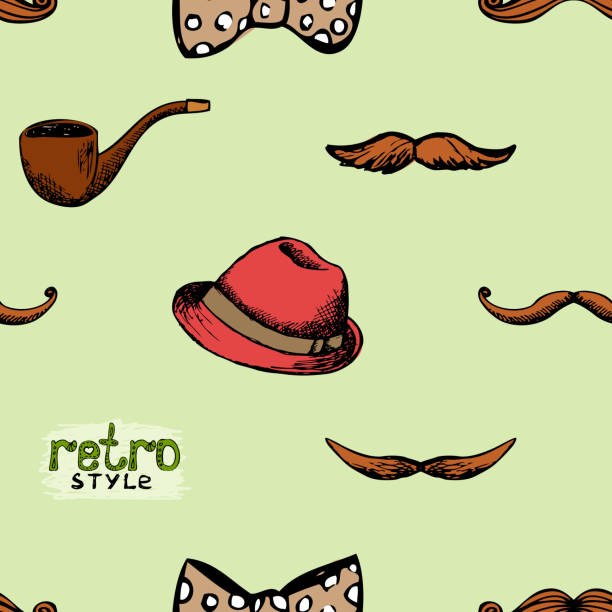 pattern retro style hat and mustache - old man smoking pipe drawing stock illustrations, clip art, cartoons, & icons