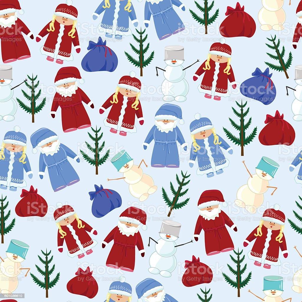 pattern Santa Claus, maiden, snowman multi colore vector art illustration