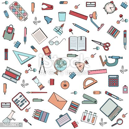istock pattern school and office supplies, color vector illustration, design, decoration 1252264355