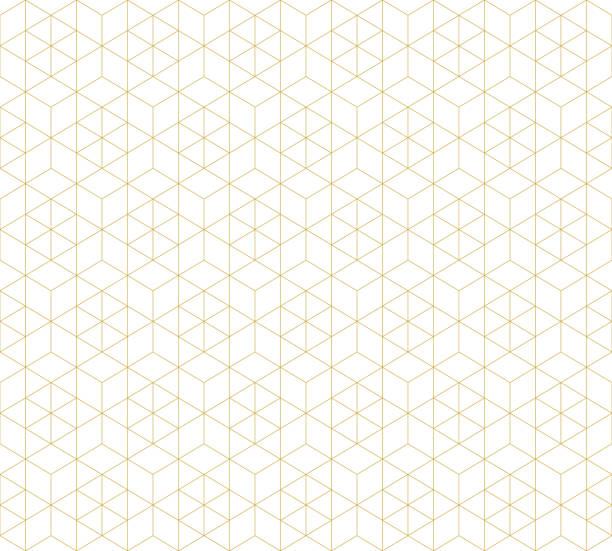 Pattern seamless abstract background white color and gold line. Geometric line vector. Pattern seamless abstract background white color and gold line. Geometric line vector. hexagon stock illustrations