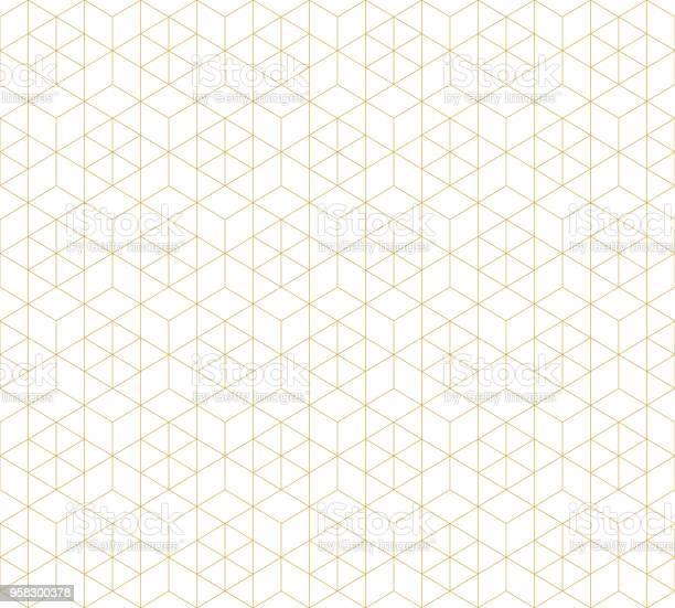 Pattern Seamless Abstract Background White Color And Gold Line Geometric Line Vector - Arte vetorial de stock e mais imagens de Abstrato
