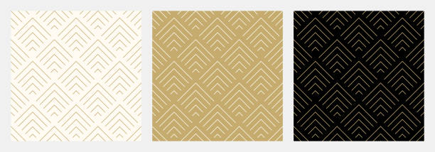 pattern seamless chevron abstract wave background stripe gold luxury color and line. geometric line vector. - elegance stock illustrations