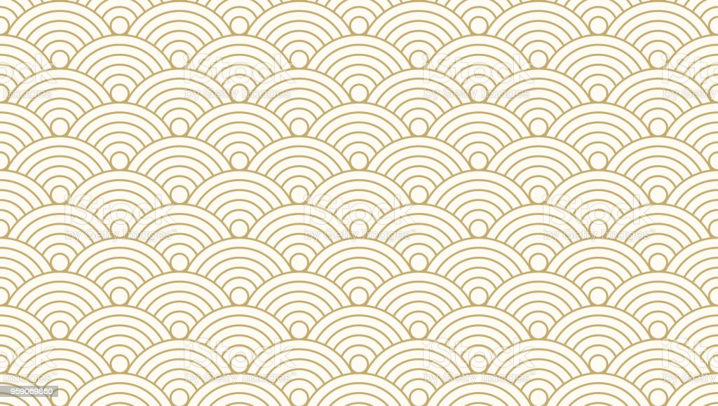 Pattern seamless circle abstract wave background gold luxury color and line. Japanese circle pattern vector. vector art illustration