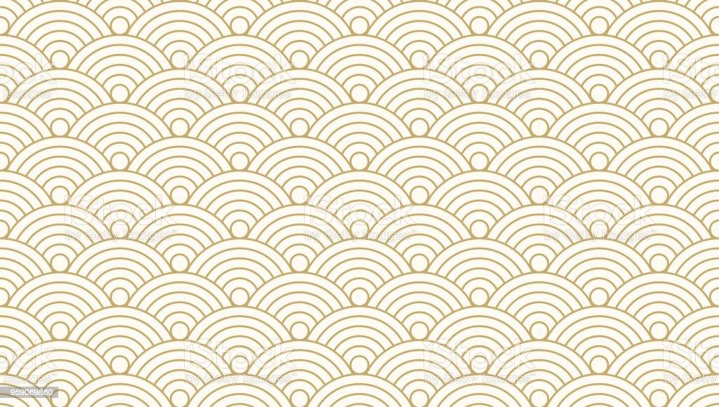 パターン シームレスなサークル抽象的な波背景ゴールドの豪華な色と線。日本の円パターン ベクトル。 ベクターアートイラスト