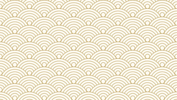 illustrazioni stock, clip art, cartoni animati e icone di tendenza di pattern seamless circle abstract wave background gold luxury color and line. japanese circle pattern vector. - sfondo retrò e vintage