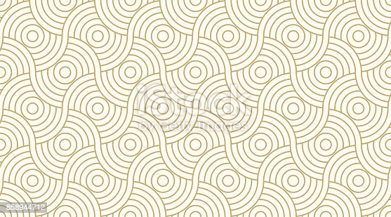 istock Pattern seamless circle abstract wave background stripe gold luxury color and line. Geometric line vector. 858944712