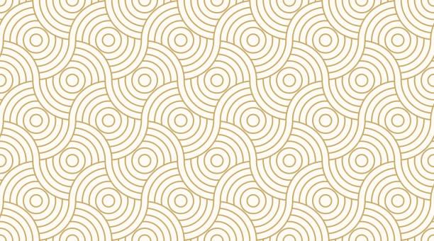 wzór bez szwu koło abstrakcyjne fala tła pasek złoty luksusowy kolor i linia. wektor linii geometrycznej. - tajlandia stock illustrations