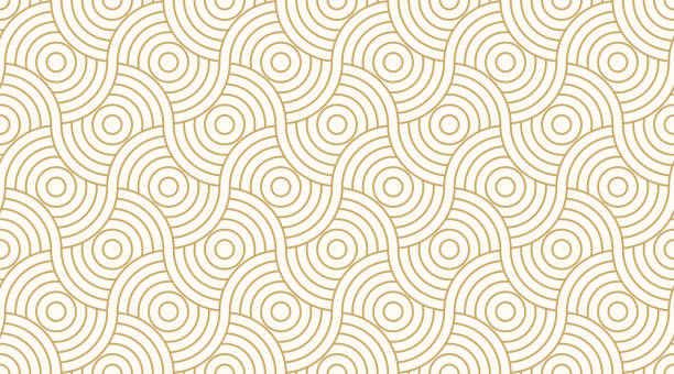 illustrazioni stock, clip art, cartoni animati e icone di tendenza di pattern seamless circle abstract wave background stripe gold luxury color and line. geometric line vector. - sfondo retrò e vintage
