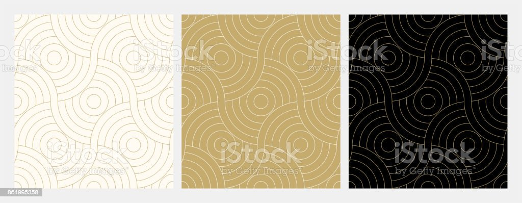 Pattern seamless circle abstract wave background stripe gold luxury color and line. Geometric line vector. vector art illustration