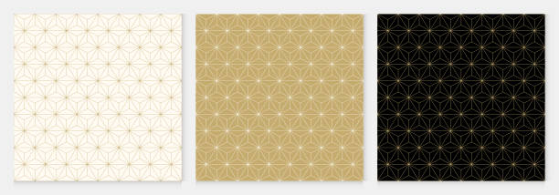 ilustrações, clipart, desenhos animados e ícones de triângulo e cubo sem costura padrão abstraem fundo ouro luxo cor geométricas vetor. - christmas pattern